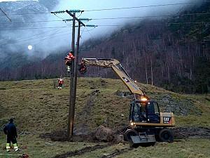 Lærdal Energi. Rep av 66kw etter Dagmar